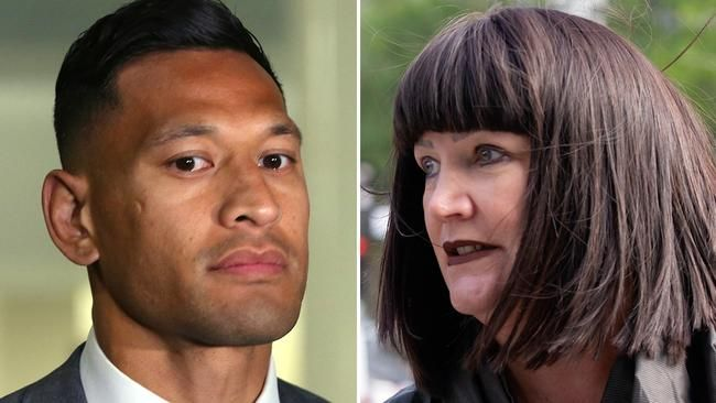 Former Wallaby Israel Folau (left) and Rugby Australia CEO Raelene Castle arrive to commence mediation negotations on Tuesday. Pictures: AAP, Sarah Matray