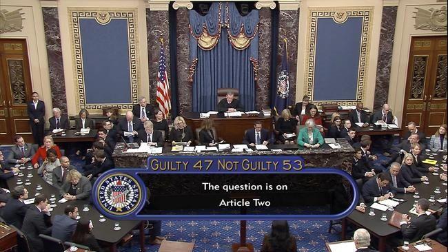 The US Senate votes against impeachment. Picture: AP