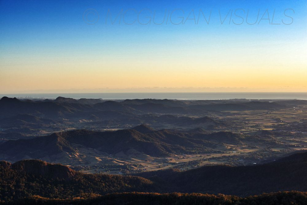 On top of Mt Warning in NSW Australia looking north to surfers paradise on the gold coast