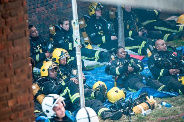 """Image result for grenfell tower firefighters exhausted"""""""