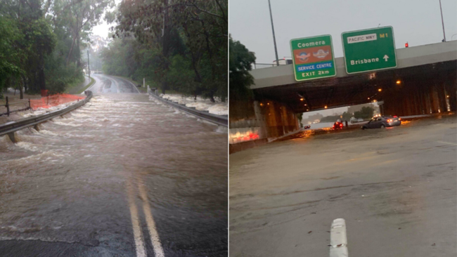 Torrential rain has forced major roads to be closed.