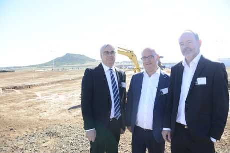 TECH PARK: FKG's Dallas Hunter and Gary Gardner and Pulse DC general manager Peter Blunt at the first day of construction on the new Pulse Data Centre in Wellcamp, Toowoomba.