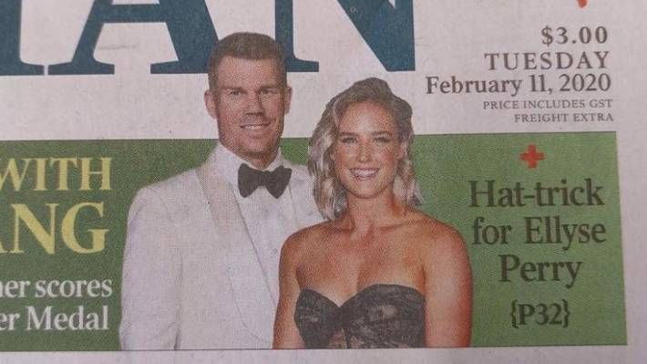 David Warner is shown towering over Ellyse Perry on the front page of The Australian newspaper on Tuesday.