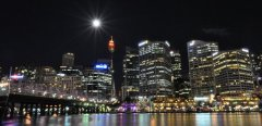 Moonlight night in Downtown Sydney