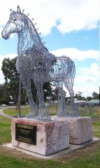 'Clydebuilt' statue created by Andrew Scott to honour the Clydesdale horse & its role in the building of Australia