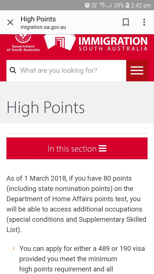 High Points for 489/190 - South Australia - Skilled Visas - Moving